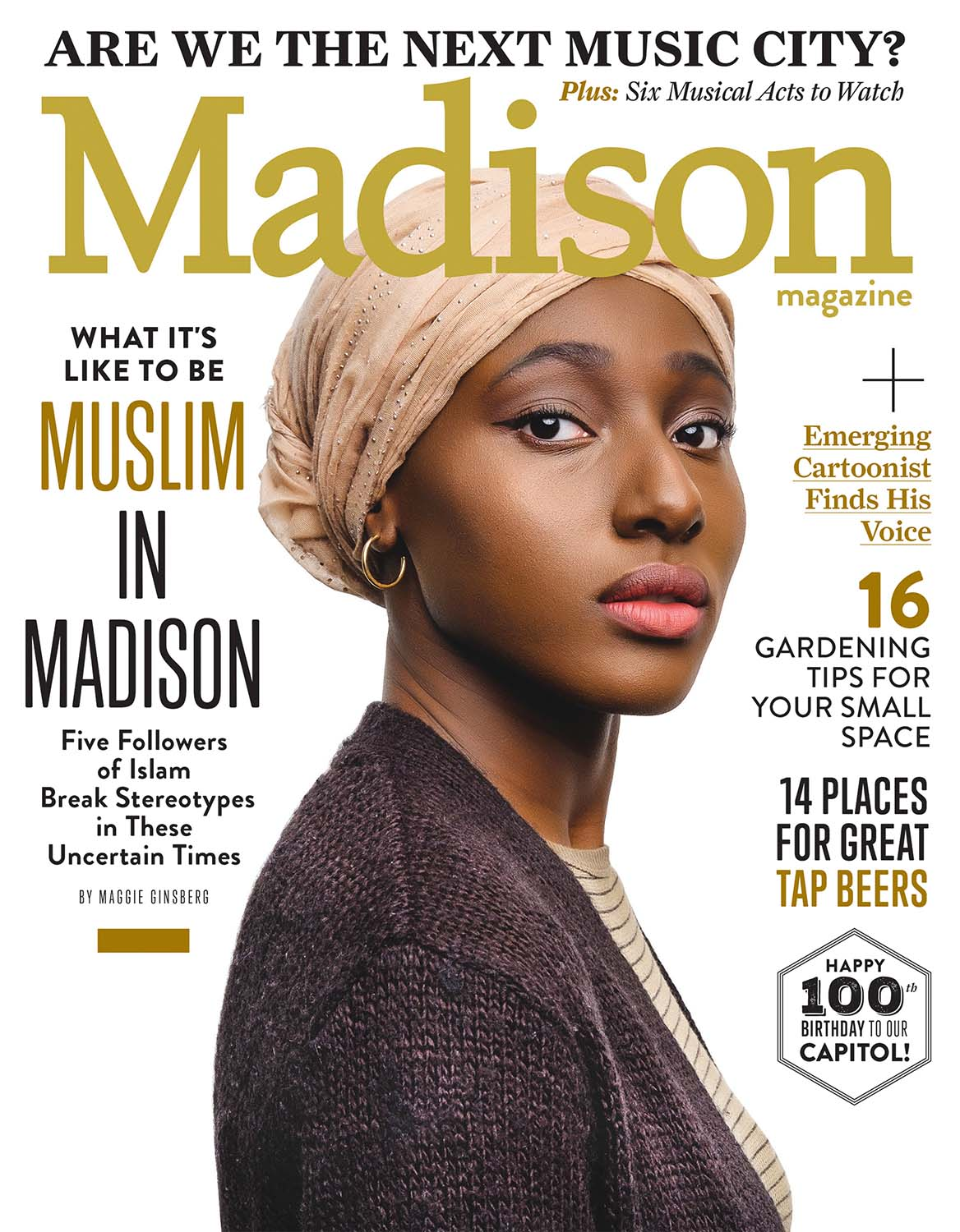 magazine cover photo with powerful studio portrait of an African American Muslim woman