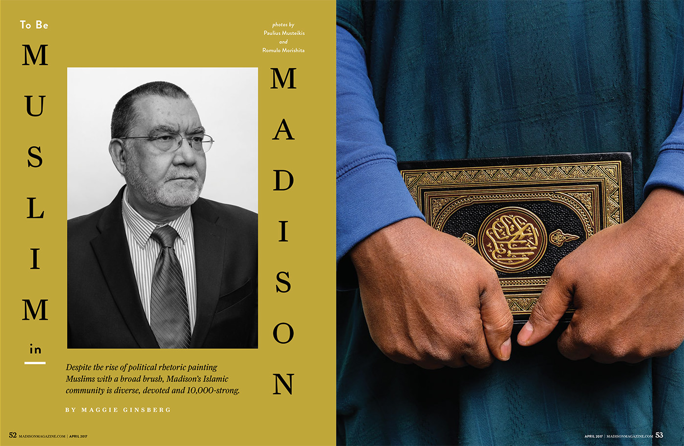 """dramatic portrait of Madison Wisconsin electrical engineer Mohammed Monawer for Madison Magazine 2017 editorial story """"Muslim in Madison"""""""