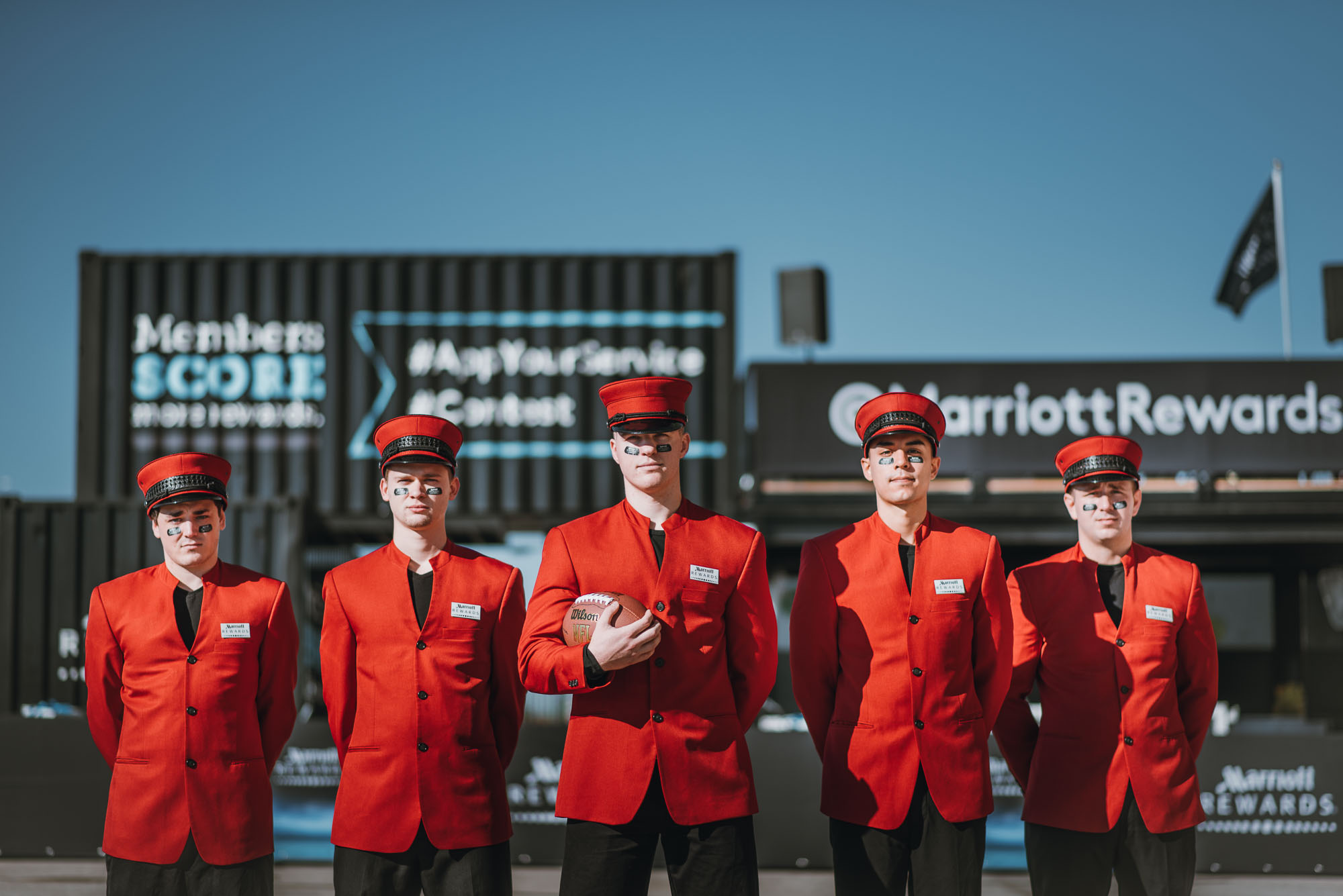 Marriott Rewards concierge team members posing during corporate event photography in Madison Wisconsin