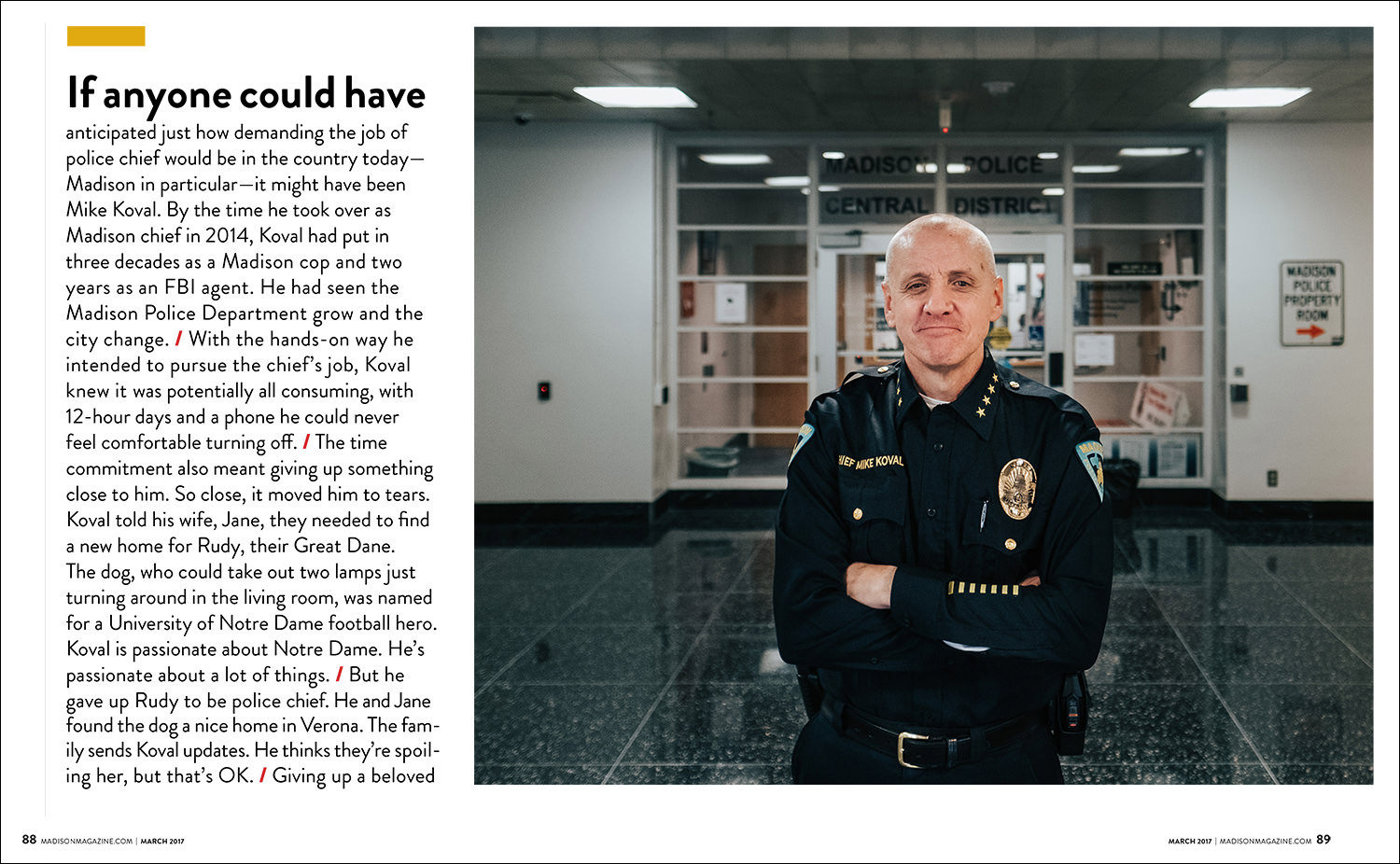 business portrait photography of Madison Wisconsin police chief