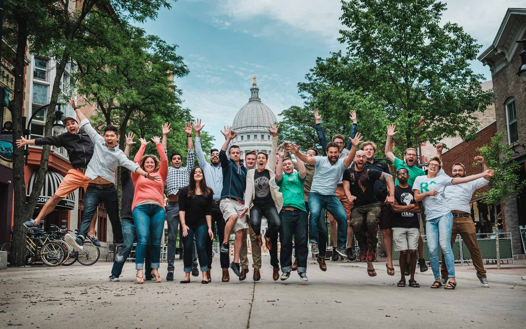 Redox company's business team photo in Madison, WI downtown